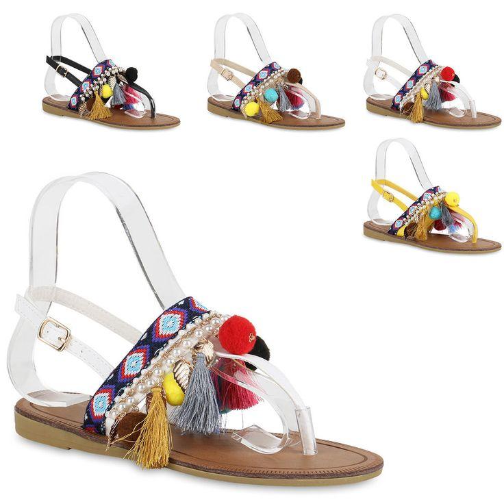DEELIN Damen Sommer Schuhe Sandalen Flach Schuhe mit Strass Flip Flops Rouml;mer Damen Sommer Flip Flops Wedges Strass...