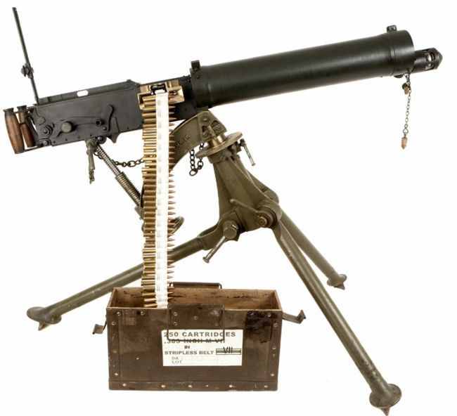 Vickers Mk.I machinegun, loaded and ready to fire.