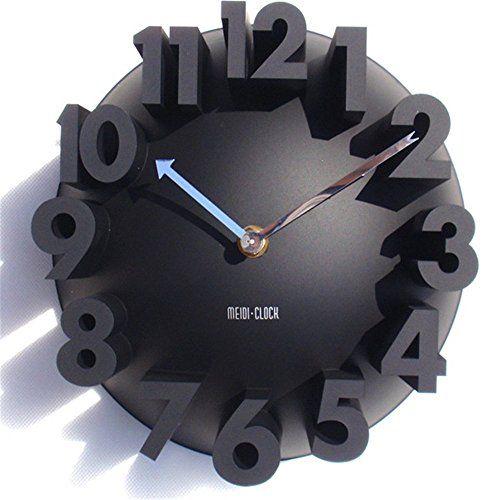 Amazing 3d Big Digital Modern Contemporary Home Office Decor Round Quartz Wall Clock Black