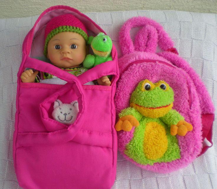 Spiegelburg Puppe 42 cm + Tragetasche + Rucksack, Babypuppe Doll