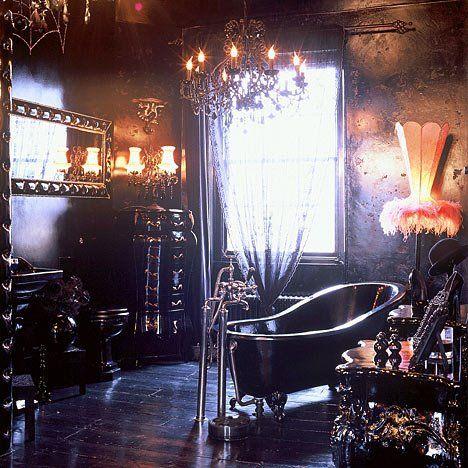 Dark Victorian Gothic bathroom.