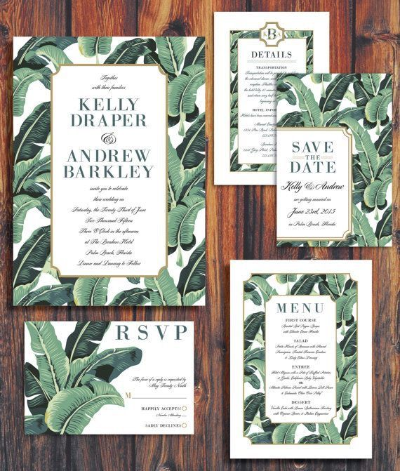 Wedding paper goods include an invitation, RSVP card, save the date, menu, envelope, and program.