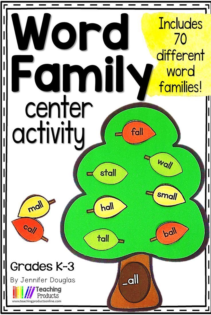 small resolution of Word family center activities for kindergarten