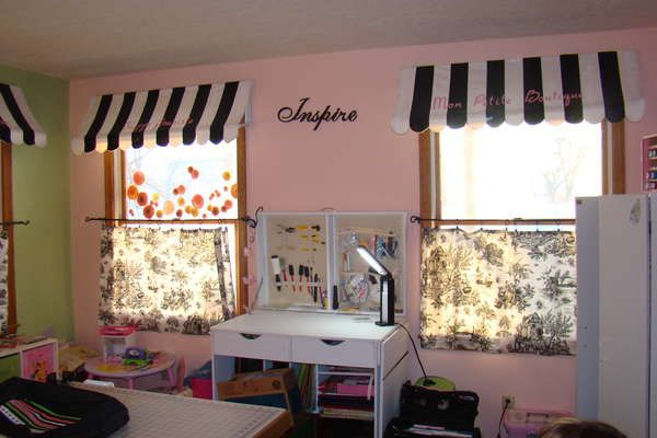 Black And White Toile Bedroom Ideas: Awnings For Valances; Toile Cafe Curtains