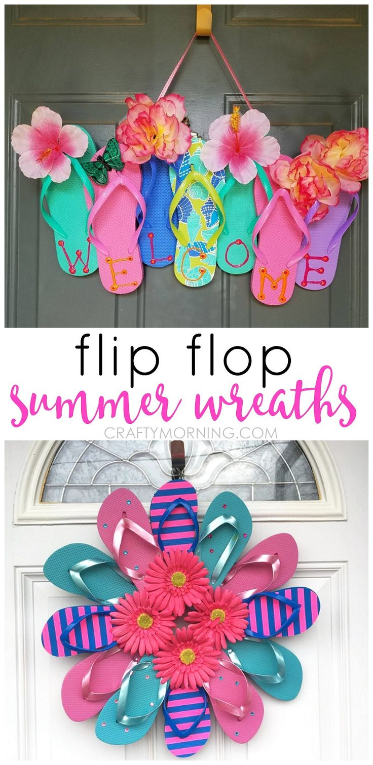 Summer flip flop wreaths - what a cute craft to hang on a door! …