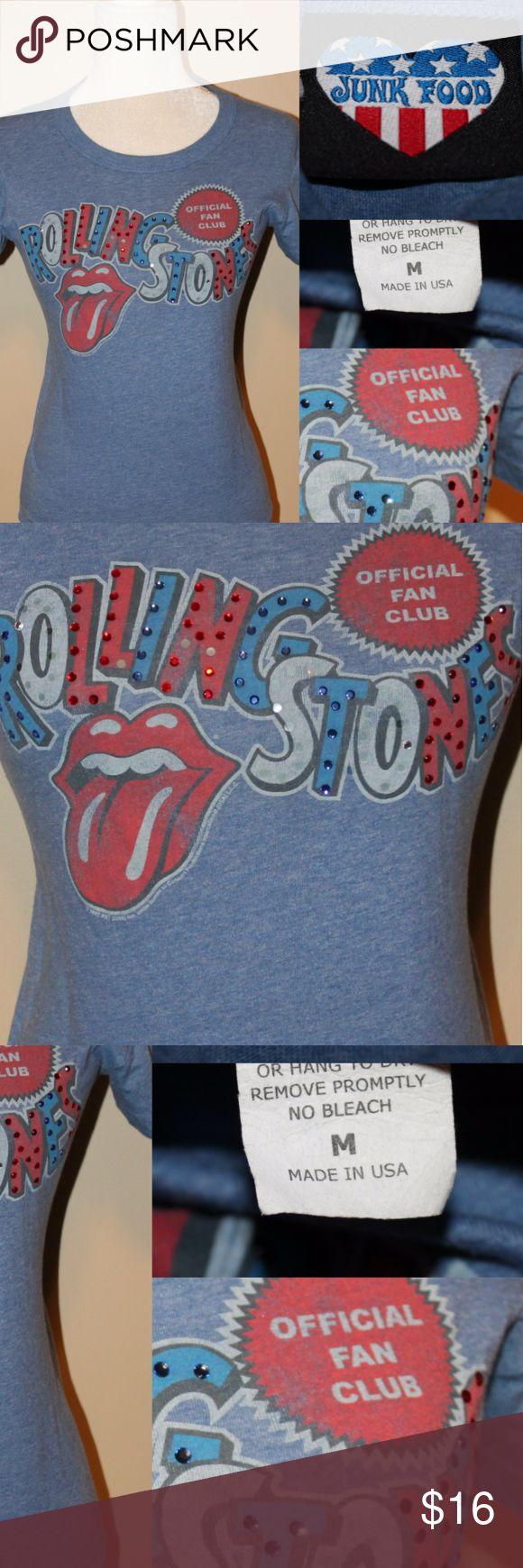 "JUNK FOOD Short Sleeve T shirt ""Rolling Stones"" Rhinestone embellished short sleeve t shirt ""rolling stones"" Junk Food Clothing Tops Tees - Short Sleeve"
