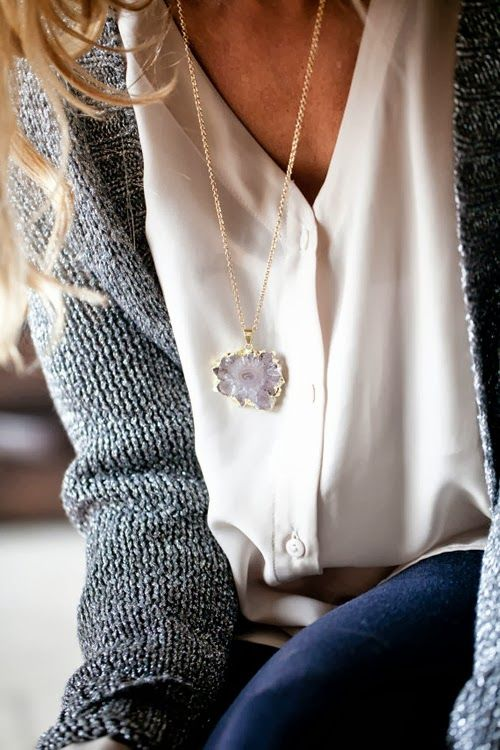 sweater, button up, & necklace.