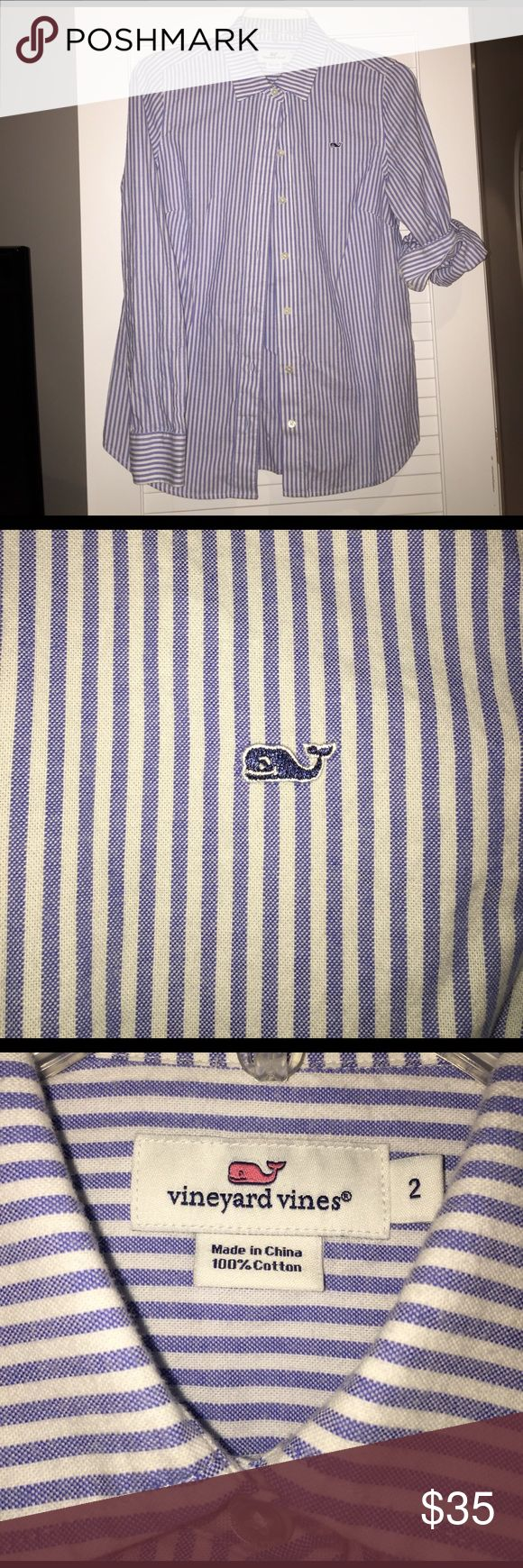 VINEYARD VINES Women's Oxford Stripe Shirt periwinkle blue women's oxford blouse from VV! in PERFECT condition, only ever worn to work and barely worn at all. flattering color & cut- perf for work or for you preppy gals ☺️☀️🐳 first 3 pics are w/ flash, last is w/o! Vineyard Vines Tops Button Down Shirts