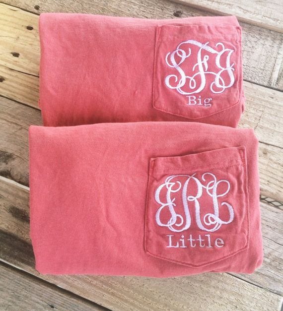 Big Little Shirts Comfort Colors Sorority Short Sleeve Pocket