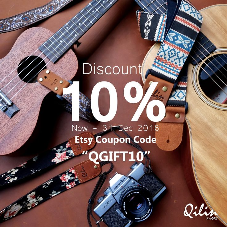 "All Guitar , Ukulele, Camera Strap Discount 10% now - 31 Dec 2016 Promotion for celebrating Merry X'Mass & Happy New Year on Etsy  Coupon Code  ""QGIFT10"""
