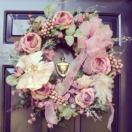 I like this pink wreath for the outside of my home.
