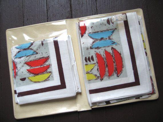 Piepmatz. Vtg midcentury placemat and napkin set / by fuzzandfu