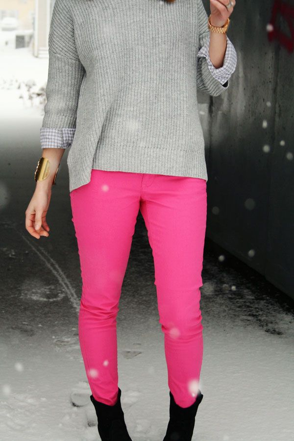 Neon pants with black boots