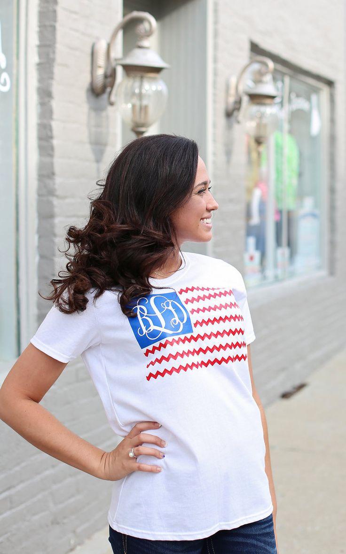 Design your t-shirt egypt - White T Shirt With Vinyl Monogrammed American Flag