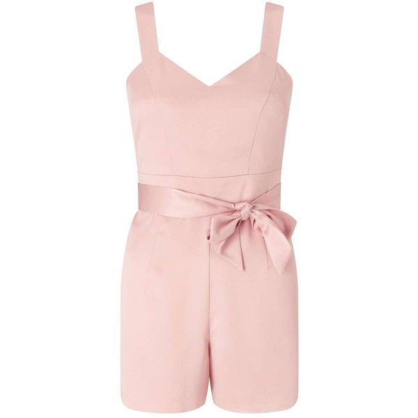 Miss Selfridge PETITE Tie Wrap Playsuit ($90) ❤ liked on Polyvore featuring jumpsuits, rompers, petite, pink, self tie belt, tie belt, miss selfridge, pink romper and tie-dye rompers