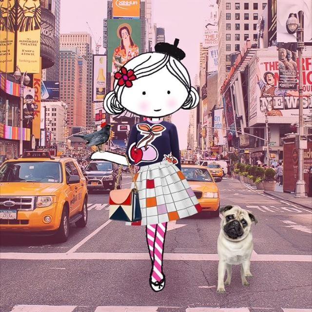 Let's walk this road together  #NY #street #walktogether #pug #billboards #monocle #vogue #chanel #victoriabeckham #orlakiely #lovemagazine #pop #pugsoninstagram #drawing #sketching #video #illustration #collage #15seconds #animation