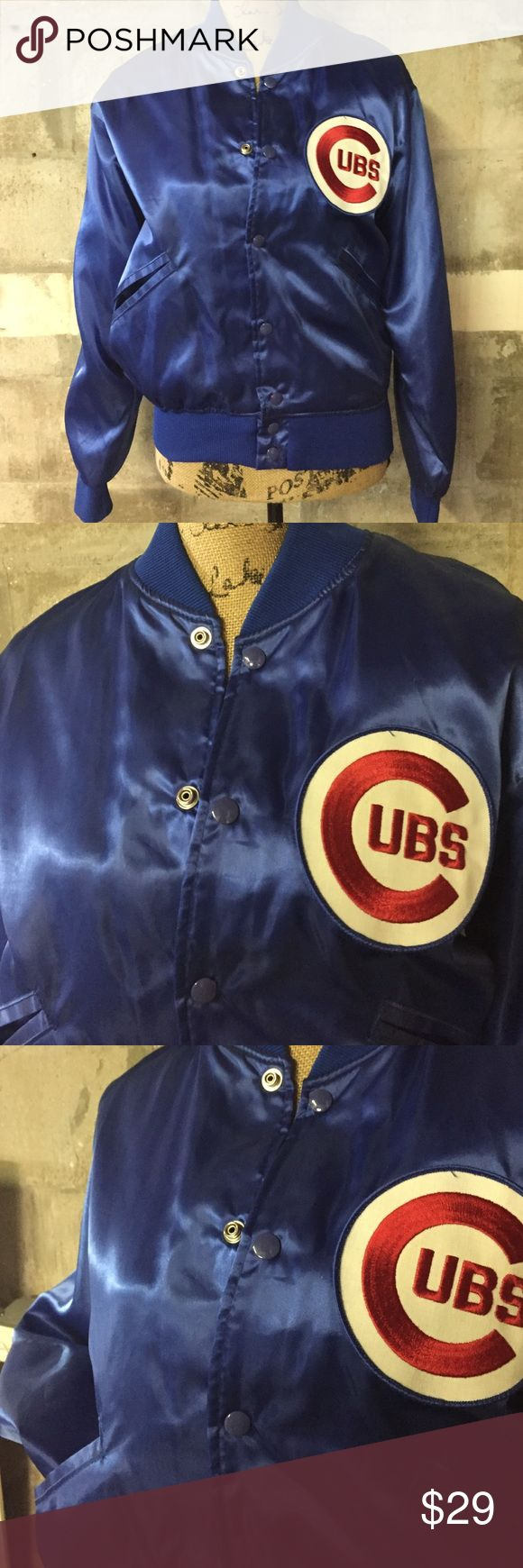 Super Cute blue satin Cubs jacket. Blue Satin Cubs jacket. Sexy and cute for all cubs fans. Ladies size M. Looks great in. EUC.100% Nylon. Fleece lining. Felco Jackets & Coats