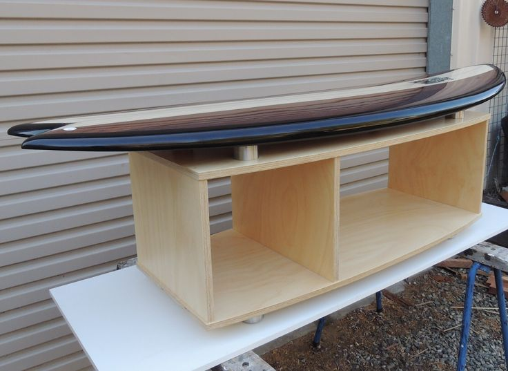 Surfboard coffee table in hoop pine for Andrew and Delma