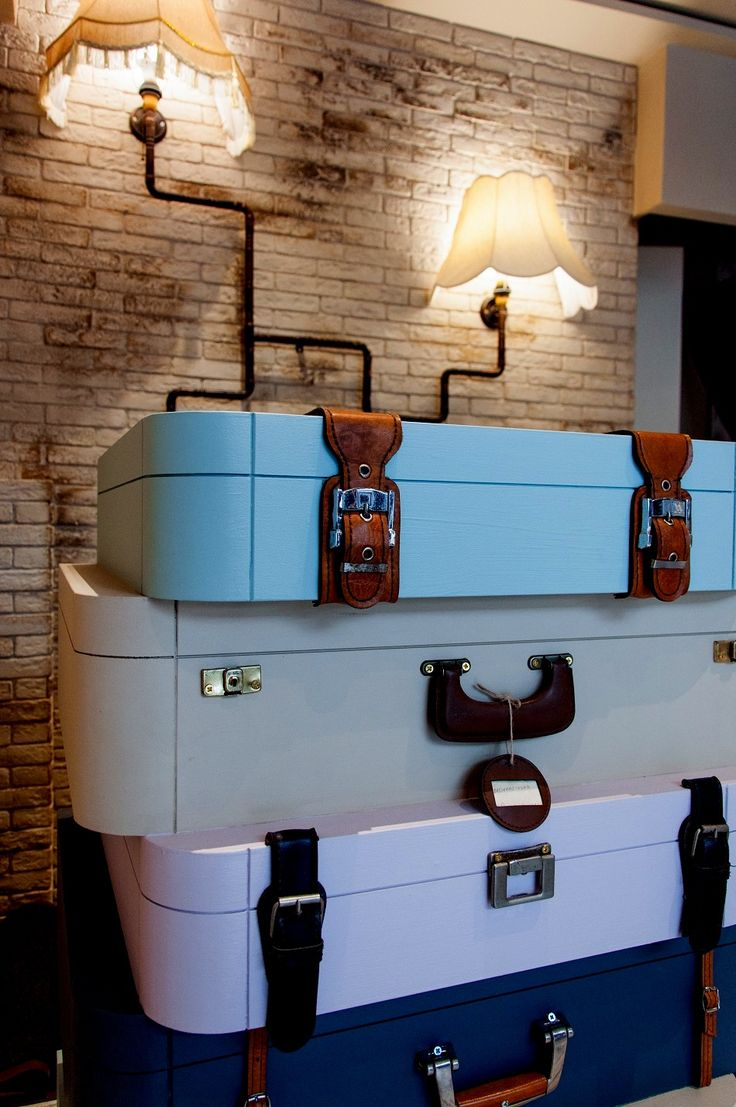 Suitcases cash-desk made of wood and leather parts | by Nikos Kyriazis