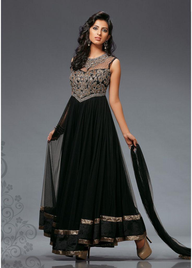 Modern Black Anarkali Gown