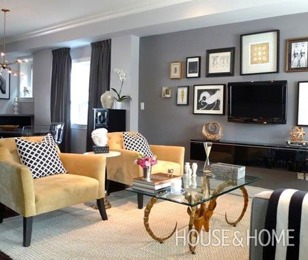gray and gold dining room ideas | the colour palette unifies this living dining area this is our first ...
