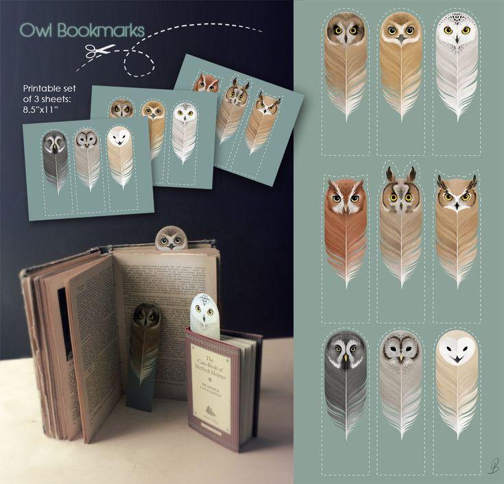 Free printable Owl Bookmarks // Imprimible gratis: Marcapáginas de Búhos