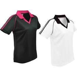 Coolde? 100% cool dry polyester mesh knit, Contrast double trim and piping design on both sleeves, Contrast ¡§V¡¨ front placket, Ribbed style collar, 160 gsm. http://bit.ly/1s8rVeV