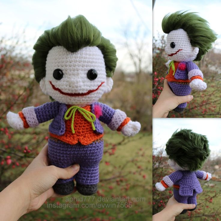 """Finished the final details on Joker today! My sister didn't like his mouth because it's too """"creepy"""" and she thinks he's not cute anymore I still think he's cute though Hope you g..."""