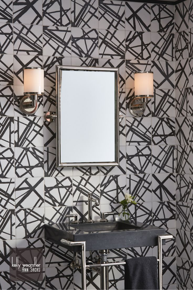 Mosaic liners art pattern mirrorred bathroom wall discount tiles - Kelly Wearstler S Iconic Hand Drawn Pattern Design Now Available In Gorgeously Touchable Ceramic Tile Bathroom Plumbingstone Mosaickelly