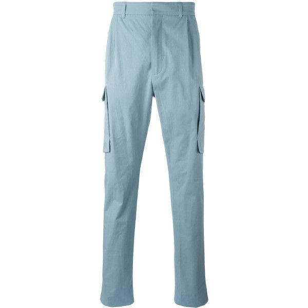 Qasimi Tapered Cargo Trousers (22,230 INR) ❤ liked on Polyvore featuring men's fashion, men's clothing, men's pants, men's casual pants, mens tapered pants, mens blue pants, mens cargo pants and mens blue cargo pants
