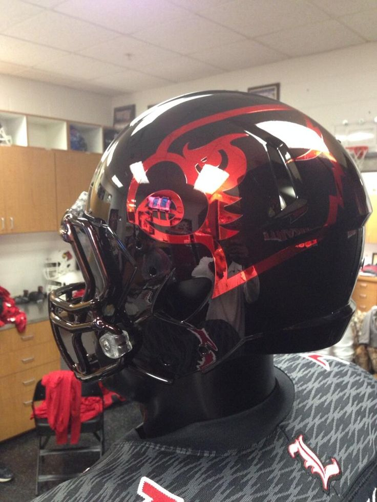 louisville football helments | Photo: Louisville unveils black helmet with red chrome Cardinals logo