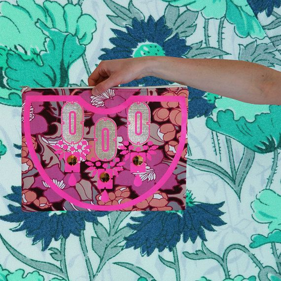 it's a goodie . . . OVERSIZED PINK  CLUTCH  PURSE handmade by dAKOTArAEdUST £28.00 vintage fLORAL fabric, neon pink vinyl print and purple appliqué panels. oH so special