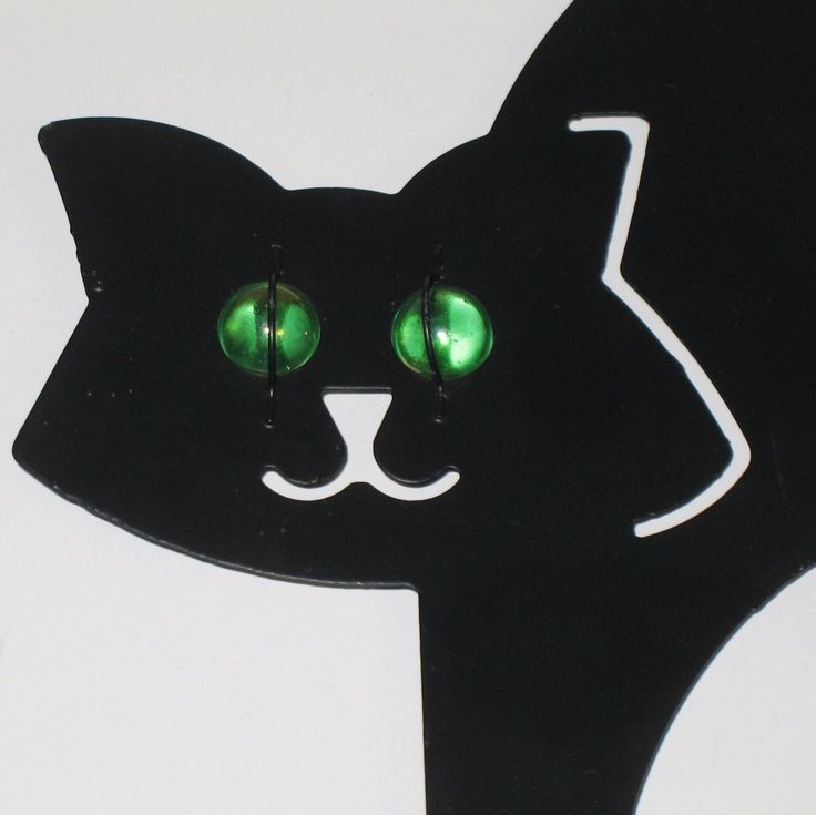 black cat silhouettes metal with glass eyes halloween decoration set lot 2 ebay - Metal Halloween Decorations