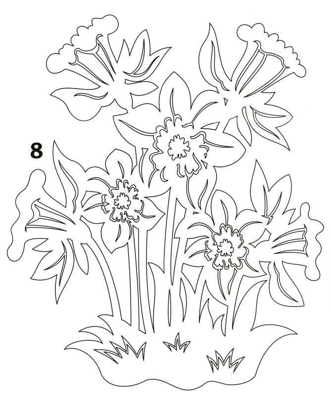 Шаблоны весенних цветов для вырезания из бумаги