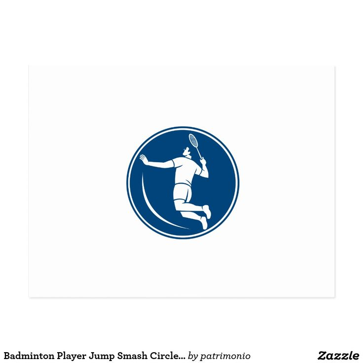 Badminton Player Jump Smash Circle Icon Postcard. Icon illustration of a badminton player holding racquet jumping smashing viewed from side set inside circle on isolated background done in retro style. #badminton #olympics #sports #summergames #rio2016 #olympics2016