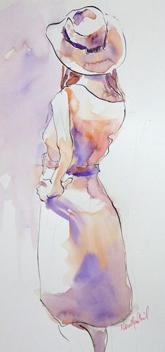 by Nora MacPhail - costumed model - watercolour | Pen, Ink and wash. Short pose… | Flickr - Photo Sharing!