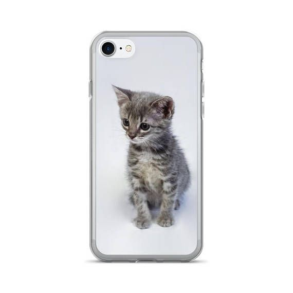 A cute phone case with a grey tabby kitten (her name is Sketti-O) The back of this case is solid and anti-scratch while the sides are flexible. Its solid, sleek, and easy to take on and off. • Back is made of a solid, durable polycarbonate (PC) material • Soft, TPU sides • Holes line up with phones functions • Back is solid and scratch-resistant
