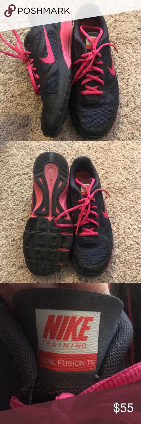 Nike dual fusion training shoes size 7.5 Pink and black nike dual fusion training shoes worn a couple times but in brand new condition Nike Shoes Athletic Shoes