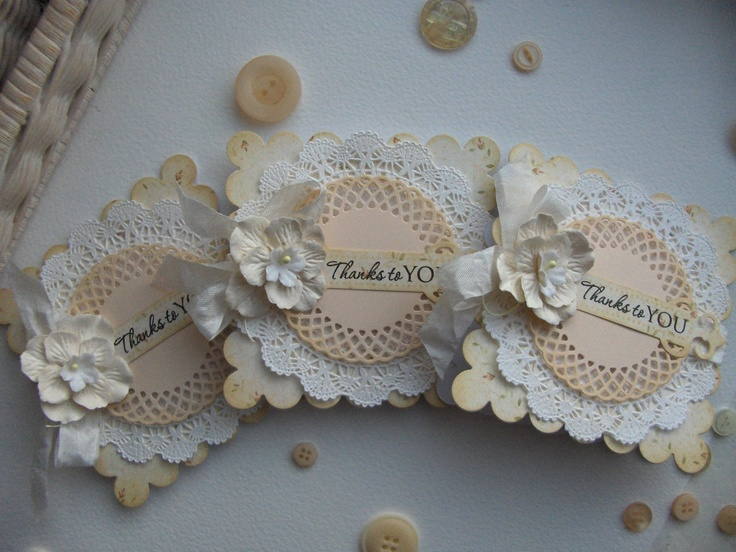 Doily detail cards. takkekort -small cards