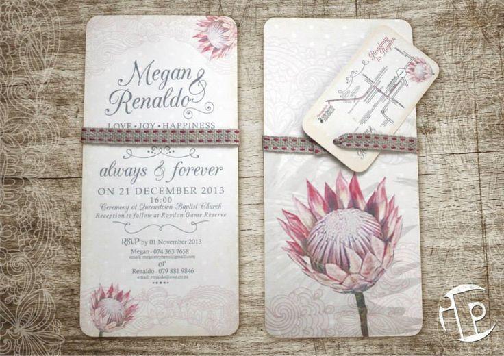 Vintage Wedding Invitations designed for Megan & Renaldo. Protea Theme