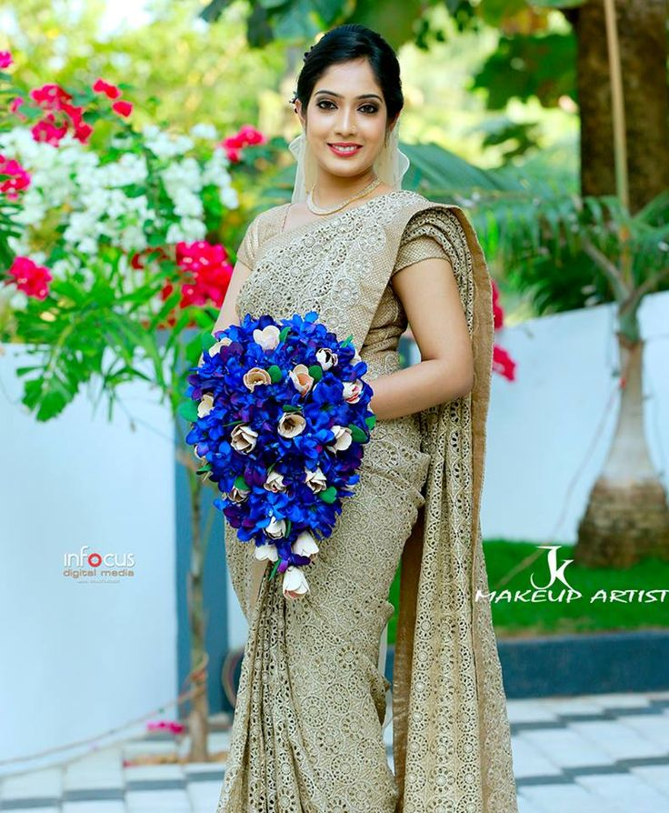 Wedding Hairstyle For Kerala Bride: Christian Wedding Sarees