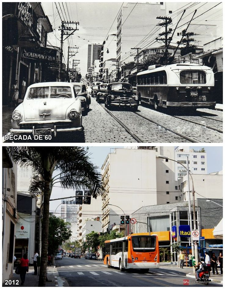 Before & After - Rua Augusta in 1960 & 2012. Sao Paulo Antiga