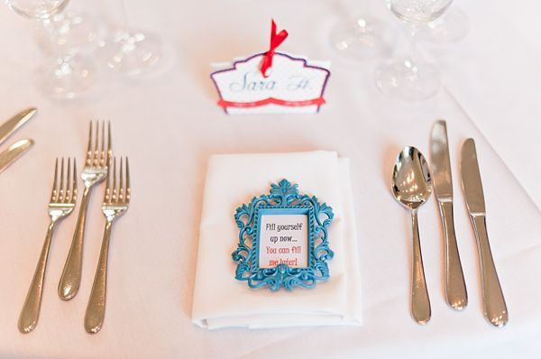 A Red, White And Blue 1950s American High School Prom Inspired London City Wedding - picture frame favours