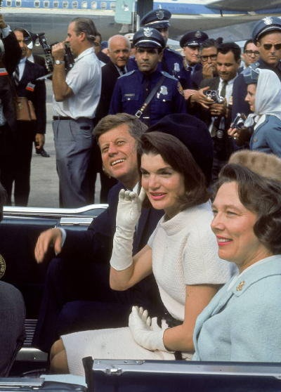 Jack and Jackie in San Antonio, 11/21/63, shown with Mrs. Connally.  www.facebook.com/pinkpillbox