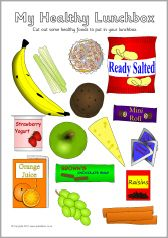 Healthy eating lunchbox cut and stick activity (SB3294) - SparkleBox