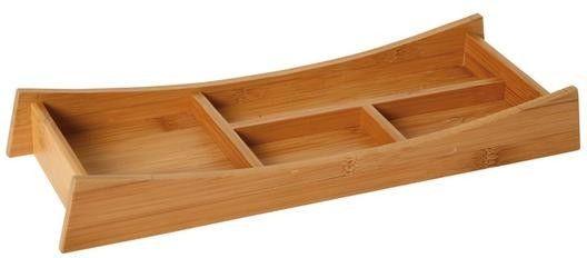 Schreibtischset aus Holz    Maße: 32 x 11 x 4,5 cm.    Mit vier Fächern für Büroklammern, Visitenkarten, Stifte