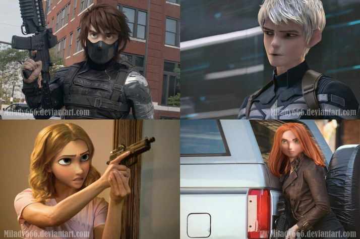 Captain America: the Winter Soldier/Big Four crossover. Jack & Hiccup look awesome but Punz & Merida look kinda strange...