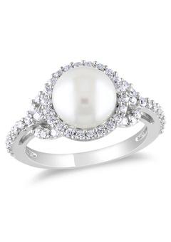Vintage Mother Of Pearl Sterling Silver Ring Vine