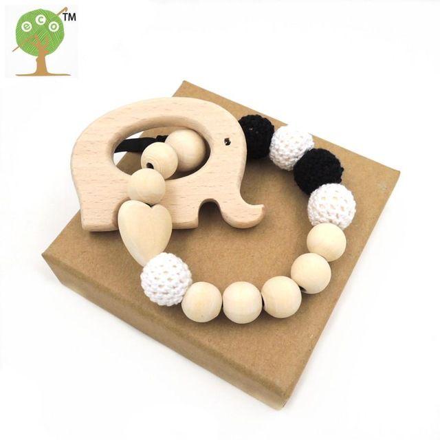 Neue schwarz weiß häkeln perlen natürliche umweltfreundliche Baby kinderkrankheiten spielzeug sicher infant kauen elefant rassel baby dusche geschenk ET89