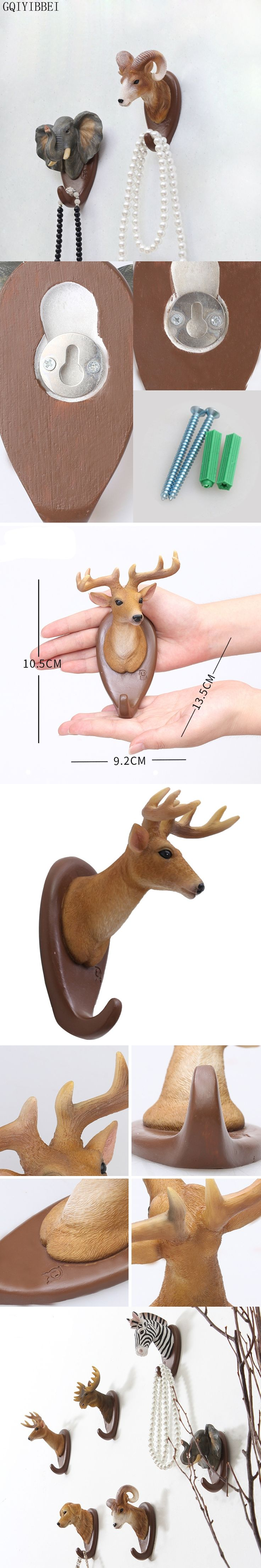 GQIYIBBEI Creative Resin Wall Hanging Hook Clothes Hanger Jungle Animals Elk Zebra Elephant Bar Home Adornment Storage Organizer